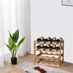 SOPRETY Weinregal Holz mit 4 Ebenen klein Weinflaschenhalter Flaschenregal schmal Flaschenaufbewahrung Weinflaschen Ablage Flaschenständer für Keller Gastronomie Lagerraum (Für 16 Flaschen)