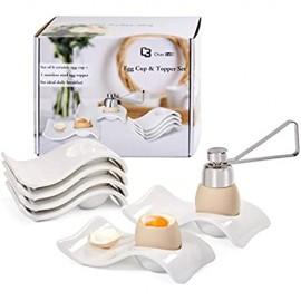 Chas Bete Eierbecher Porzellan Eierbecher Set für Hart und Weichgekochten Eiern 6 Weißes Porzellan Eierbecher +1 Eieröffner
