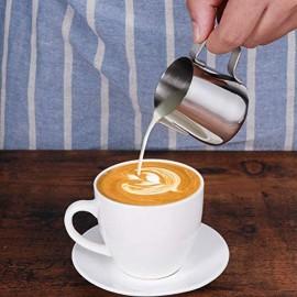 BESLIME Barista Aufschäumkännchen Espressokännchen 150ml Milchkanne aus Edelstahl Milk Pitcher Milch Aufschäumkännchen für Cappuccino und Latté