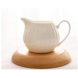 BOCbco Soßenboote Stehen Weiße Keramische Kaffee-Milch-Cremer-Kugel-Spender Mit Griff Für Kaffee-Milch Oder Ahorn-Sirup-Sauce-Sauce-Boot/Saucer-Stand