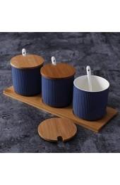 Creative Nordic Kitchen Supplies 3-teiliges Keramik-Gewürzdosen-Set Blau