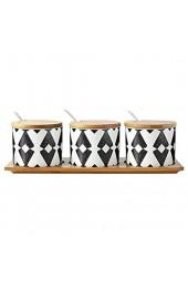 Kreativer japanischer Stil Gewürzglas Keramik Haushalt Salzstreuer Gewürzbox Kombination 3-teiliges Set mit Bambus-Tablett C