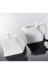 MALACASA Serie Amparo 3-teilig Porzellan Milch und Zucker Set mit Deckel Milchkännchen Zuckerdose Milch- & Zuckerbehälter Küchenhelfer