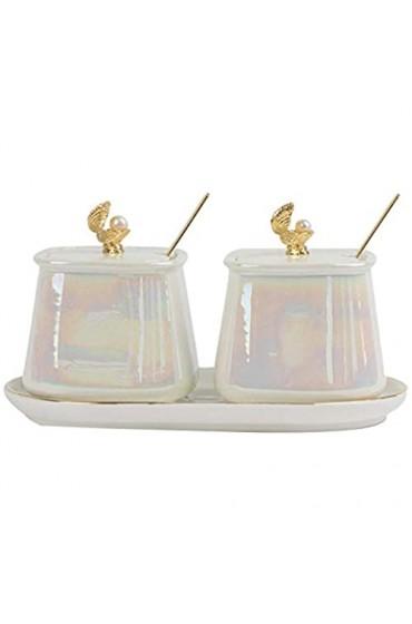 Nordic Luxus Keramik Gewürzglas Kombination Set Home Pearl Shell Küche Salztopf MSG Sojasauce Vanille Flasche Single-B-2pcs