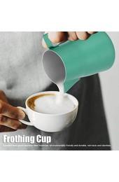 Schaumbecher Milchkrug geruchloser Edelstahl mit schrägem Mund für das Home Cafe(green 550ml)