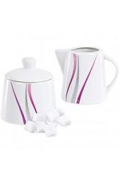 Van Well | 2-TLG. Geschirr-Set Melina: Zucker-Dose + Milch-Kännchen | Spender mit Deckel | Gießer | abstraktes Streifen-Dekor | edles Porzellan