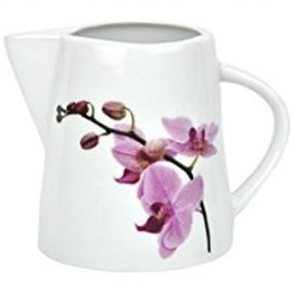Van Well Milchkännchen Kyoto 200 ml Ø 75 mm Milch- Gießer Milk Pitcher Kännchen Porzellan-Geschirr Blumen-Dekor Orchidee rosa-rot pink