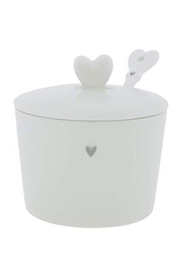 BC Zuckerdose little Heart mit Löffel Keramik weiss schwarz Keramikgeschirr Sugar Bowl Küche gedeckter Tisch