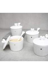 BC Zuckerdose Stripes mit Löffel Keramik weiss schwarz Keramikgeschirr Sugar Bowl Küche gedeckter Tisch