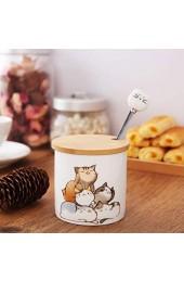 Keramische Zuckerdose Chase Chic Klein Porzellan-Zuckerdose mit Holzdeckel und Edelstahllöffel mit Katzenmuster für Küche und Frühstück zu Hause bestes Geschenk für Katzenliebhaber 266ml (9oz)