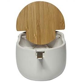KOOK TIME Keramik Zuckerdose mit Löffel und Deckel aus Bambus -Zuckerlöffel für Haus und Küche moderne Kugelform für Zucker Käse Gewürze 12.5 x 9.5 x 8 cm Weiß