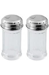 Viva Haushaltswaren - 2 x Mini Zuckerstreuer / Zuckerspender im American Style mit Deckel Zuckerdose aus Glas als Zuckerdosierer verwendbar (Ø 4 5 cm)