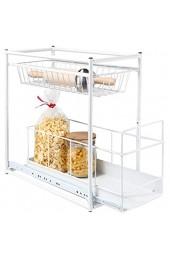 HI Teleskop Schublade - Küchenschrank Schublade für Küchenschränke ab 30 cm Breite Aufbewahrungskorb Schublade Einbau Teleskop Korb für Küchenschrank aus Metall (weiß)