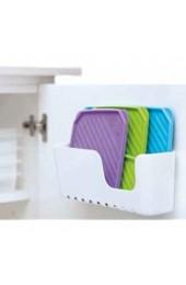 K&G TA1129101 Deckelhalter für Kunststoff-Deckel weiß | Ablage ohne Bohren | Deckel-Halter mit Saugtellern Küchenablage Küchen Zubehör