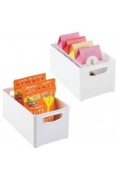 mDesign 2er-Set Aufbewahrungsbox mit Griffen – praktische Kühlschrankbox zur Lebensmittelaufbewahrung – Ablage aus BPA-freiem Kunststoff für den Küchen- oder Kühlschrank – weiß