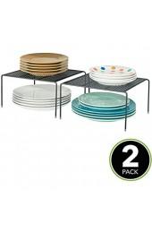 MDESIGN 2er-Set Geschirrablage für die Küche – freistehendes Tellerregal aus Metall – kleines Küchenregal für Tassen Teller Lebensmittel usw. – schwarz
