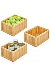 mDesign 3er-Set Aufbewahrungsbox für die Küche – umweltfreundliche Sortierbox aus Bambus – vielseitige Holzbox für Lebensmittel Konservendosen etc. – naturfarben