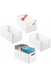 mDesign 4er-Set Aufbewahrungsbox mit integrierten Griffen – zur Aufbewahrung von Büroutensilien – vielseitig verwendbare Kunststoffbox für das Büro und andere Räume – weiß