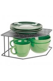 mDesign Küchenregal – Tellerregal für Ecken auf Arbeitsplatten und in Schränken – zweistöckige Geschirrablage für optimale Platzausnutzung in der Küche – grau