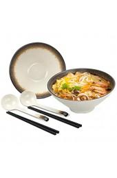 2 Sets (6 Stück) Ramen Schüssel 22 5cm/9Inch Füllmenge 1100 ml Japanische Ramen-Nudel-Suppenschüssel Müslischale Sesame Gold Geschirr-Set Enthalten Löffel und Essstäbchen