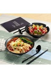 2 Sets (6-teilig) Suppenschalen Salatschüsseln mit Essstäbchen und Löffeln Handgefertigt Japanische große Schüssel Küche Müslischalen Servierschüssel für Nudeln/Udon/Pasta Schwarz Rührschüsseln
