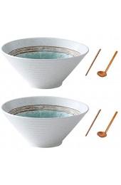 Wangxin Japanische Keramik Müslisuppenschalen 2 Sätze 60 Unzen Kreatives Geschenk Retro Ramen Schalen mit Essstäbchen und Löffeln mikrowellengeeignet für Obstsalat Gemüse Nudel (Weiß 2)