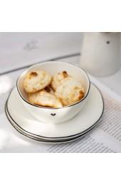 BC Bowl Sauce little Heart Keramik weiss mit schwarzem Rand und kleinem Herz Dip Schälchen Snack Schale Keramikgeschirr Gedeckter Tisch