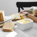 Sweese 301.101 Butterdose Porzellan mit Holzdeckel für 250 g Butter Groß Weiß