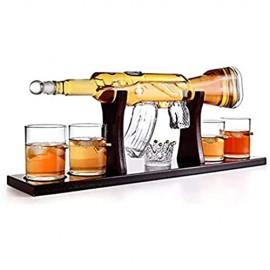 QSSQ 800Ml AK-47 Gun Whisky Decanter Set Mit 4 Kugel Whisky Gläsern Und Kiefernbasis Für Alle Geisterbrand Großartige Geschenke