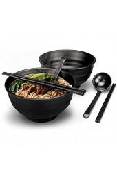 2 Stück Japanische Ramen Schüssel Set 1300ml große Ramenschalen Premium rutschfeste Suppe Schale mit Löffel und Essstäbchen für Pasta Obst Nudel Salat Schwarz (Black)