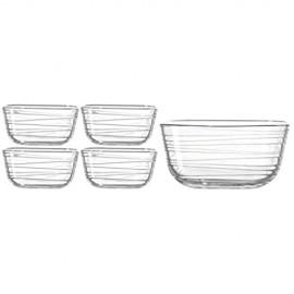 Leonardo Gusto Struttura Starter-Set Schale (2 4 l) mit Schälchen (500 ml) 5-teilig Klarglas mit Struktur 038120