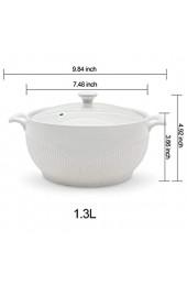 ABHOME Porzellansuppe Terrine mit Klarglasdeckel Keramik Servier Terrinensuppe Für Restaurant Home Küche Weiße Dekoration Niedlicher Suppentopf (1.3L)