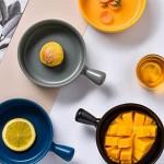 Angoily 2 Stück Runde Matte Porzellan Französische Zwiebel Suppe Schüssel Suppentassen mit Griffen Keramik Servier Suppe Schüssel (Blau)