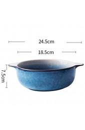 Keramik Suppenschüsseln mit Griff Verbrühschutz Doppelohrschale Mikrowellenherd im japanischen Stil Retro Geschirr Gradient Starry Sky-Blue