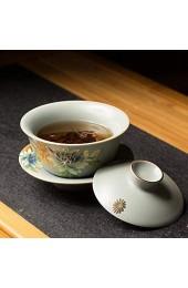 LINPO Handbemalte Teeschale Bedeckte Schüssel Set Tasse Untertasse Mit Deckel Ruyao Crackle Glasur Porzellan Terrine Chinesisch Gaiwan 140ml