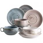 MÄSER 931453 Serie Derby Premium Suppentassen Set für 4 Personen in Gastronomie-Qualität 8-teiliges modernes Service aus Suppenschüsseln und Untertassen in bunten Pastellfarben Durable Porzellan