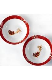VEWEET Serie CHRISTMASDEER Porzellan Salatschale 2 tlg. Set Schalen 1125 ML Große Suppenschale für Weihnachten