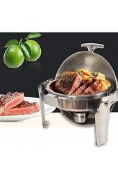 OUBAYLEW Speisenwärmer Chafing Dish Warmhaltebehälter Wärmebehälter Rechaud Edelstahl für Catering Buffet und Party 6 8L RUND