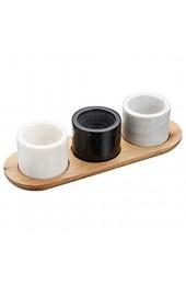 Kitchen Craft MasterClass Artesà Marmor-Servierschalen/-Saucentöpfe und -Tablett weiß/grau/schwarz 4-teilig