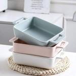 Binaurales Keramik-Backgeschirr Ofenschüssel Spezial für Mikrowellenherd Käse-Reis-Backgeschirr Haushaltsgeschirr (Color : Pink Size : 8.85 * 5.23 * 1.96inch)