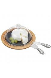 Relaxdays Käseglocke mit Käsebrett Stahl Käsebesteck Käsemesser Käsegabel Servierplatte Bambus Schiefer Natur