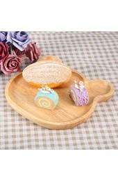 Borlai 2 x Holztablett Cartoon-Bär Holz für Kekse Süßigkeiten Snacks Obst Teller
