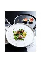 HFLK Steakplatte Western Food Teller Haushaltskeramik Steakmesser und Gabelplatte im europäischen Stil Pasta Western Geschirr (19 5 * 2 cm)