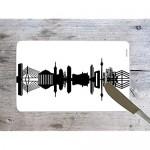 Original Düsseldorf Frühstücksbrettchen Skyline Design-Brett aus Melamin spülmaschinenfest 23 5x14 5cm