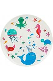 alles-meine.de GmbH großer Teller / Kinderteller - Speiseteller - Fische & Seepferdchen - Ø 25 cm - BPA frei - Melamin / Melaminteller - Kunststoffteller - Babyteller - Eßlerntel..