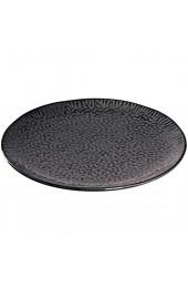 Leonardo Matera Keramik-Teller 4-er Set spülmaschinengeeignete Platzteller Pizza-Teller mit Glasur 4 runde Steingut-Teller Ø 32 cm grau 018605