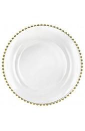 Tiger Chef 33cm rund klar Perlen Glas Ladegerät Teller Set von 2 4 12oder 24Abendessen Ladegeräte (12Stück) gold