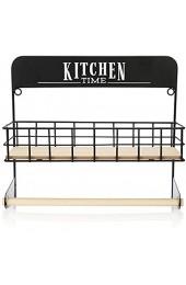 COM-FOUR® Küchenrollenhalter mit Ablagekorb - Papierrollenhalter für die Küche - hängender Rollenhalter - Küchenrollenhalterung für die Wandmontage (hellbraun + schwarz)