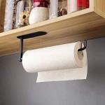 RUICER Küchenrollenhalter Schwarz Küchenpapierhalter Edelstahl Papierrollenhalter Ohne Bohren für Küche