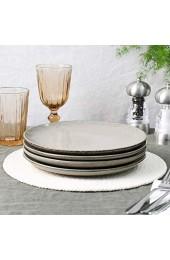 ProCook Oslo Coupe Frühstücksteller - 4-teilig - Steinzeug - Grau - handgearbeitetes Design - Steingut - Teller - Salatteller